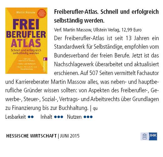 Buchtipp IHK Wiesbaden: Freiberufler-Atlas  seit 13 Jahren Standardwerk freiberuflicher Existenzgründung